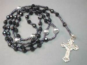 Christian Rosary BLACK Faceted Beads w Silver Tone Accents Crucifix GREAT GIFT!!