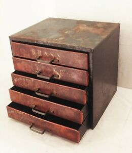 Vtg deco metal industrial factory bolt small parts storage bin cabinet 5 drawer