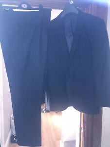 VENTURA MENS NAVY BLUE FULLY LINED SUIT TROUSERS 36S JACKET SLIM FIT 42S