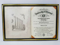 Vintage Framed 1971 University of Missouri Bachelor of Arts Diploma Sherlock