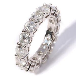 2.5 Carat 3mm Moissanite Diamond Designer Full Eternity Band Ring 14K White Gold