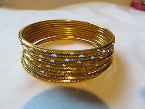 New Lot of 10 Genuine Indian Pakistani Bangle Bracelets Gold Tone Silver Accents
