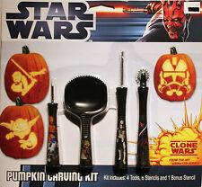 STAR WARS PUMPKIN CARVING KIT Clone Tools Patterns Halloween Jack O' Lantern NEW