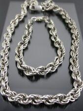 VINTAGE IN STERLING SILVER Corda Link collana e bracciale Suite C.1980