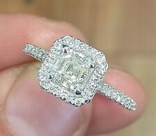 14k White Gold Asscher Forever One Moissanite and Diamond Engagement Ring 1.70ct