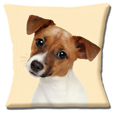 Jack Russell Puppy Dog Cushion Cover 16x16 inch 40cm Cute Photo Tan White Smooth