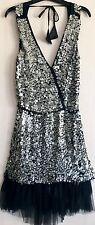 BEBE Silver Metallic Sequin Plunge Open Back Backless Tutu Skirt Flapper Dress S