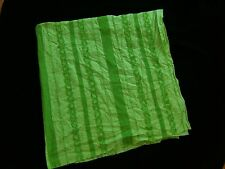 """Vintage Sheer Cotton Blend Fabric 58"""" x 56"""" Chartreuse Lime Green w/ Lace Ribbon"""