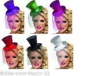 Hen Night Mini Glitter Top Hat Headband Netting Veil Red Black Silver Green Pink