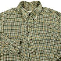 Viyella Wool Blend Long Sleeve Plaid Houndstooth Flannel Button Shirt Sz MEDIUM