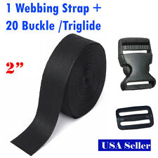 2 Inch 10 Yards PP Webbing Strap + 20 Buckle / Triglide Sewing Tool 5cm DIY