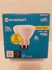 2 Pack EcoSmart 75-Watt Equivalent BR30 Dimmable LED Light Bulb Bright White