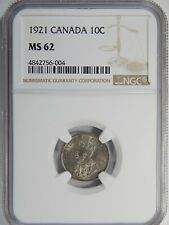 1921 Canada Silver 10 Cents NGC MS-62 10c