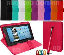 """Leather Magnetic Flip Case Cover Folding Stand Fits 7"""" Inch LINX 7 Tablet + Pen"""