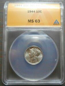 1944 Mercury Dime  10c  ANACS  MS63