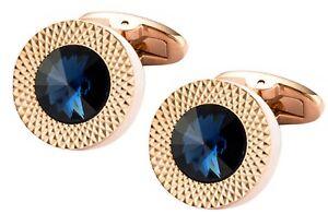 Sapphire Blue Swarovski Crystal Gem in Rose Gold Plate Men Gift CUFFLINKS DIRECT