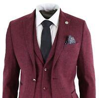 Mens Wool 3 Piece Suit Tweed Burgundy Black Tailored Fit Peaky Blinders Classic