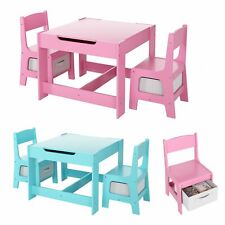 Kids Table and Chairs Set Children Activity Study Table Desk with Storage Drawer