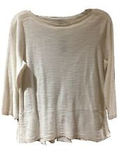 LOFT Womens Blouse Top 3/4 Sleeves Cream /off-white MP Petites