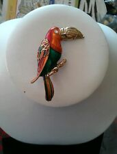 VINTAGE DON LIN COLORFUL 2.5 INCH PARROT PIN