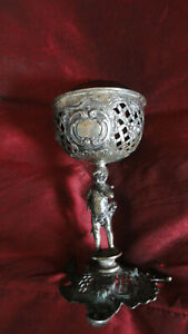 """ANTIQUE GERMANY SILVER DECORATED  W ANGEL VASE FOR CANDY 171g glass incl 5 """" hig"""