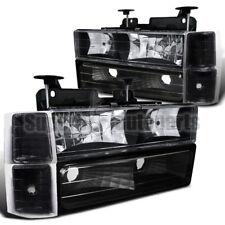 1994-1998 C10 C/K Suburban Pickup Headlights Black W/ Bumper+Corner Lamps 8PCS