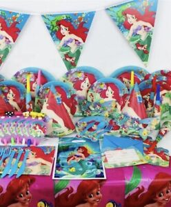 Little Mermaid Ariel Party Birthday Supply Bundle for 90Pcs
