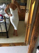 Rare White Body Con Midi Dress With Cutaway Cup 10 New