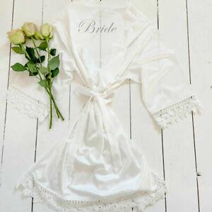 Lace Personalised Bride Wedding Party Satin Silk Robe Bridesmaid Kimono Gown