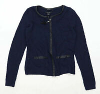 Preworn Womens Size 10 Merino Wool Blend Blue Cardigan (Regular)