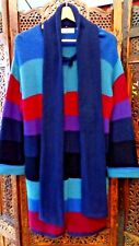 Ronit Zilkha Long Cardigan & Scarf Set L Multi Coloured Stripes Great Condition
