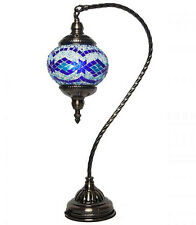 Turkish HANDMADE Glass Mosaic Table Lamp LIGHT Swan Neck Pole Mosaic Lantern 108