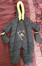 DISNEY BABY MICKEY MOUSE DARK BLUE PRAM SNOW ALL-IN-ONE SUIT AGE 0-3 MONTHS