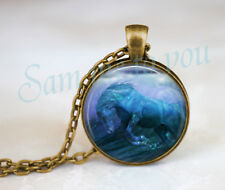 HORSE & SEA Glass Pendant Cabochon or Key Ring Blue Wave New Jewellery UK