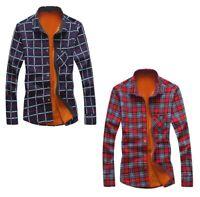 Slim Flannel Shirt For Men Winter Christmas Shirt Plaid Warm Camisas Long Sleeve