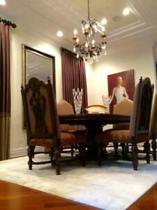 8 CUSTOM DINING CHAIRS with MARGE CARSON FABRIC & NAILHEAD DETAILING