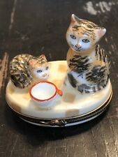 Hand Painted Limoges France Cats w/ Cup Porcelain Patch or Pill Box