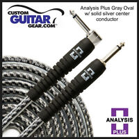 Analysis Plus 20ft GRAY Oval Guitar / Bass Cable with Straight/ANGLE Plugs
