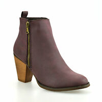 Ladies Womens New Mid Block Heel Chelsea Work Office Zip Ankle Boots Shoes Size