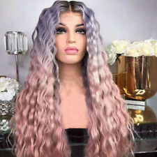 "26"" Femme Ombre Rose Perruque Cheveux Longue Ondulee Boucles Cosplay Wig"