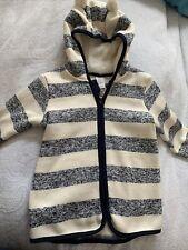 New H&M Zip-up Fleece Long Cardigan Hooded w Ears Ivory Navy Stripe 2-3T Nwt