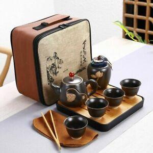 Ceramic Teapot Kung Fu Teaware Set Portable Travel Tea Set 4 Cup Kettle With Bag