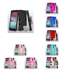 For ZTE Blade X Max/Zmax Pro TUFF Hybrid Phone Protector Case Cover w/Holster