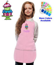 Personalized Kids Apron with Cupcake Dessert Embroidery Design