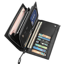 Zipper Men Leather Long Wallet Card Holder Purse with 2 Cash Compartment