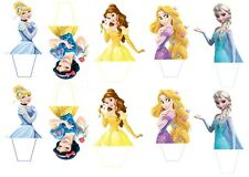 12 x  DISNEY PRINCESS PRINTED CUPCAKE TOPPER STAND UP PRE - CUT