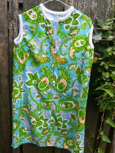 Vintage 1960s  Psychedelic Towelling Beach Dress Size 12  14