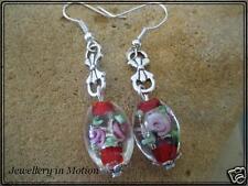 Red Lampwork Dangle Earrings