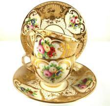 Antique French Porcelain Tea Tasse à Café Soucoupe Assiette Set-Fleurs PAT. 2990 G