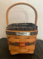 Longaberger Handwoven 1993 Inaugural Red Blue Basket with plastic liner